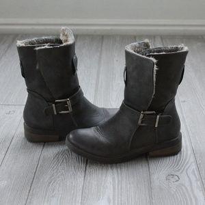 JustFab Gray Fur Lined Moto Boots Sz 7 EUC